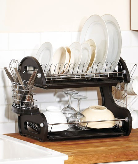 new 2 tier deluxe black dish drainer strainer drying rack ebay. Black Bedroom Furniture Sets. Home Design Ideas