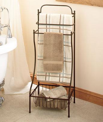 New Floor Standing Bronze 3 Rack Towel Rack Stand With Storage Basket Ebay