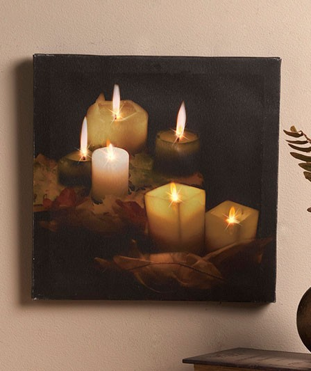 new unique lighted twinkling led lights canvas wall art candlelight ebay. Black Bedroom Furniture Sets. Home Design Ideas