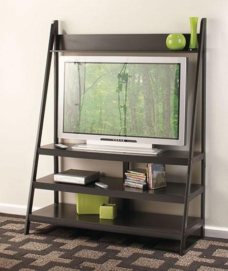 black ladder tv stand wooden entertainment flat screen. Black Bedroom Furniture Sets. Home Design Ideas