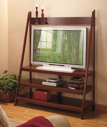 walnut ladder tv stand wooden entertainment flat screen. Black Bedroom Furniture Sets. Home Design Ideas
