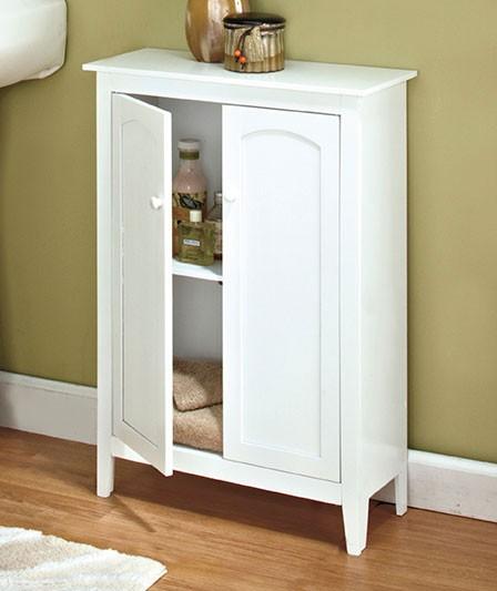 New space saving storage cabinet white wood slim