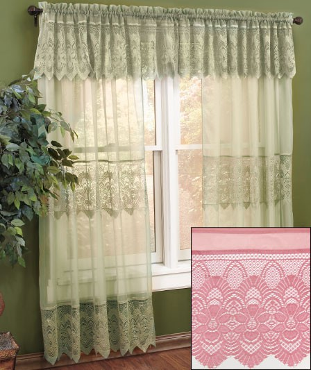 details about new lace curtains with attached valance 60 x 63 white