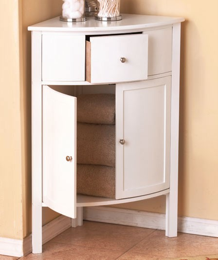 New Space Saving Storage Cabinet White Wood Slim Storage