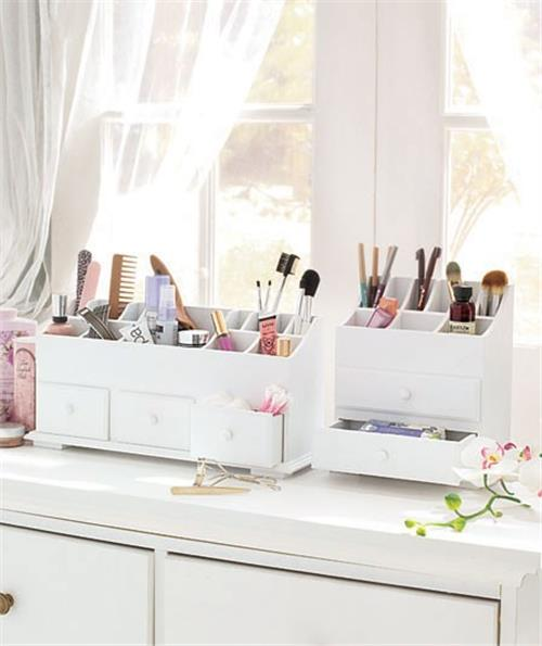 Image is loading NEW-Wooden-Vanity-Beauty-Cosmetic-Storage-Organizer-Caddy-