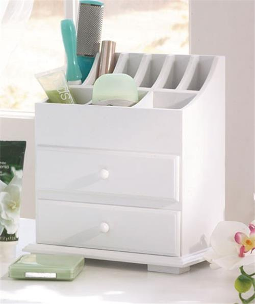 NEW-Wooden-Vanity-Beauty-Cosmetic-Storage-Organizer-Caddy-with-Drawers-White