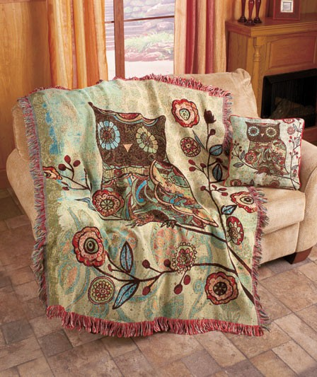 Red Chinoiserie Throw Blanket Floral Throw Blanket Birds Tapestry Throw