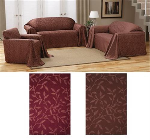 New Jasmine Leaf Loveseat Slip Cover Sofa Throw Brown Or Burgundy Ebay