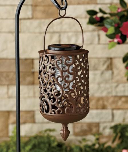 Outdoor Hanging Decorative Lanterns: NEW Iron Scrollwork Solar Lighted Hanging Outdoor Lantern