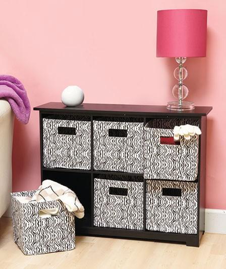 NEW 6 Bin Zebra Print Storage Organizer Table