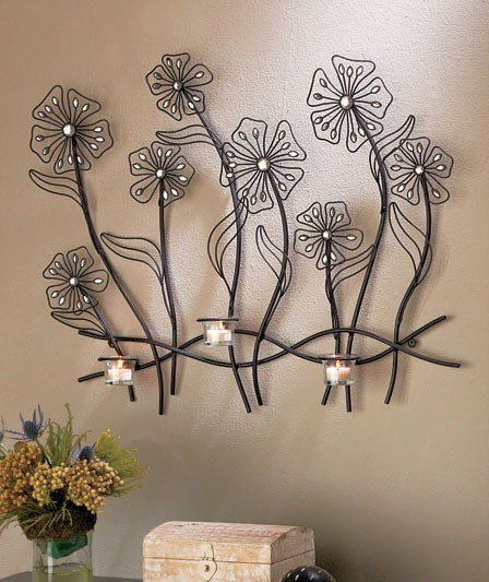 Jeweled Candle Wall Sconces : New Dazzling Jeweled Metal Flower Wall Candle Sconce Sparkle Sculpture 28 1/4