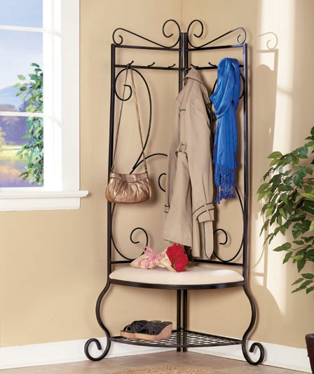 New Wrought Iron Scrollwork Corner Entryway Bench 69 1 2 Ebay
