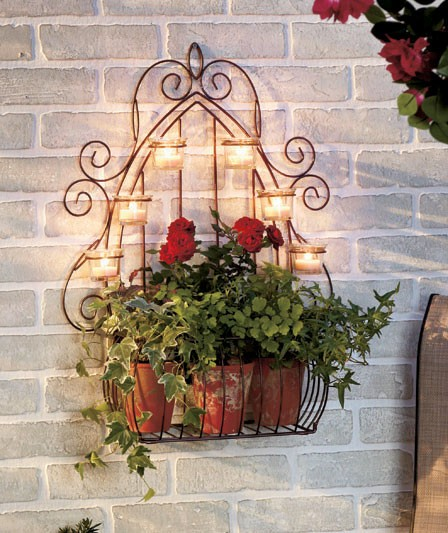Indoor Plant Wall Sconces : NEW Scrolling Candle Wall Sconce with Planter 23 5 Indoor or Outdoor eBay