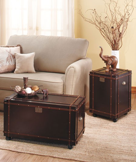 steamer trunk end table leather 3