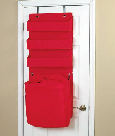 New Over The Door Organizer With Hamper Red Or Black