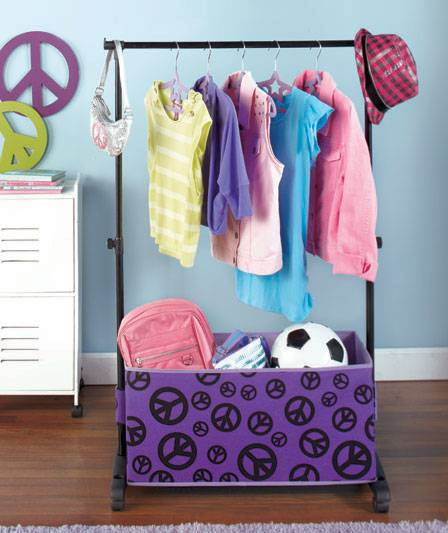 NEW Girls Rolling Clothes Rack W/ Storage Bins Dress Up Costumes Peace Or  Zebra