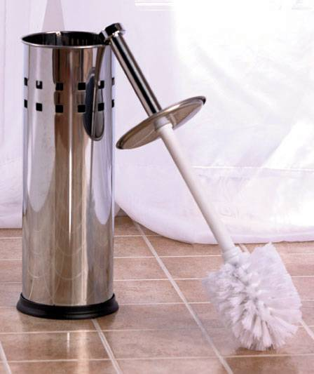 NEW Chrome Metal Stainless Steel or Bronze Toilet Bowl Brush or Plunger