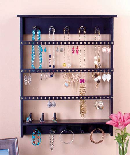 new wall mount jewelry storage organizer rack black or white earrings holder. Black Bedroom Furniture Sets. Home Design Ideas