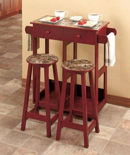 marble look rolling kitchen island breakfast cart with stools ebay