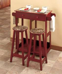 Marble Look Rolling Kitchen Island Breakfast Cart With Stools
