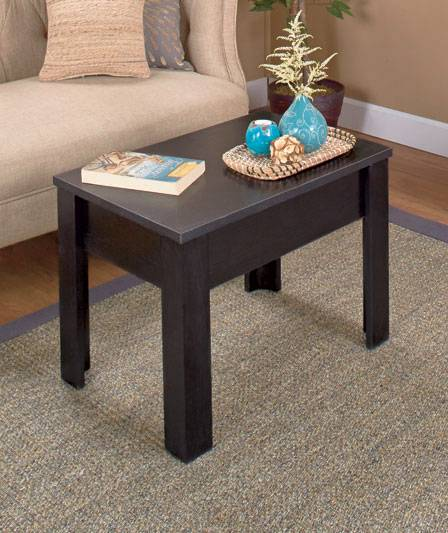 NEW Lift Top Coffee Table with Hidden Storage Brown or Black Lap Top TV Tray