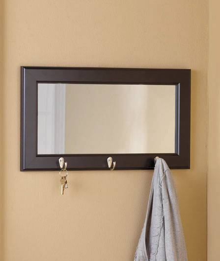 Foyer Mirror With Hooks : New entryway pub wall mirror with hooks black or brown ebay