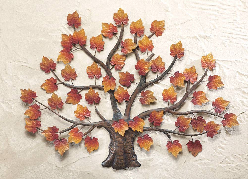 Falling Leaves Wall Decor : D metal maple tree wall art sculpture fall autumn brown