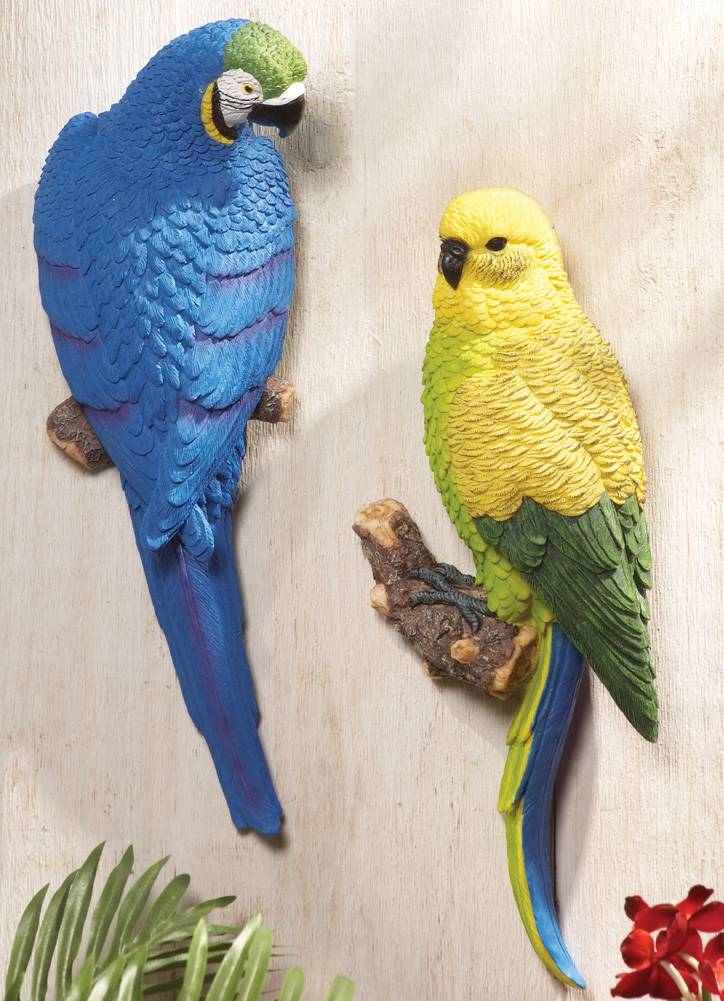 New parrot tropical birds hanging wall art in or outdoor for Decorative birds for outside