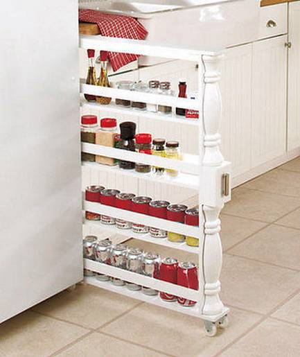 New Rolling Kitchen Slim Can Spice Storage Space