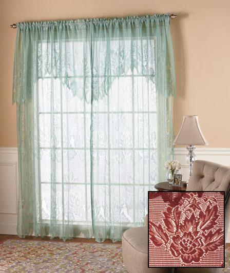 New Lace Curtains W Attached Valance 60 X 63 White Ivory