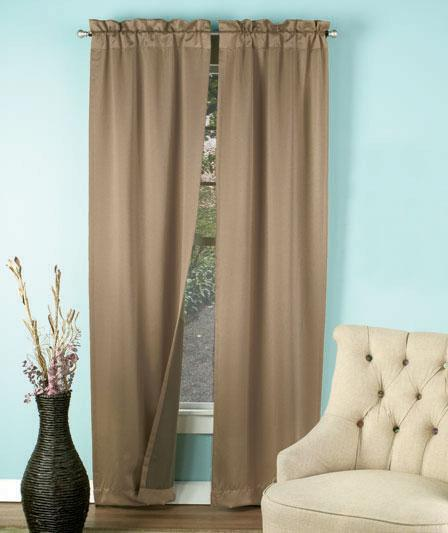 Details about 2 pc Window Curtain Panels Room Taupe Tan Burgundy Black ...