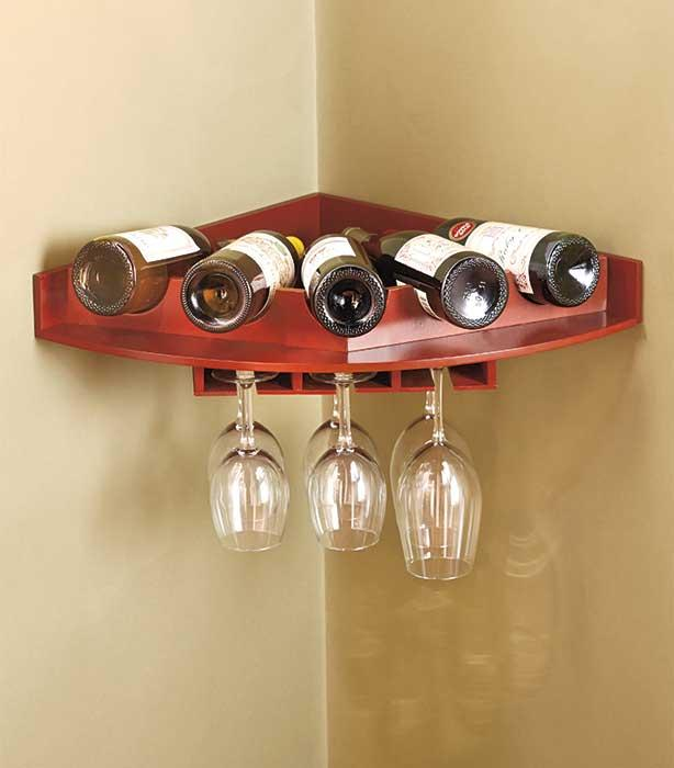 New Corner Wall Mount Wine Bottle Stemware Glass Rack