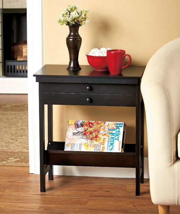 New side storage table with bin flip hinged secret drawer for Hidden storage side table