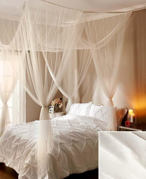 new elegant 4 post bed sheer laced bed canopy curatin