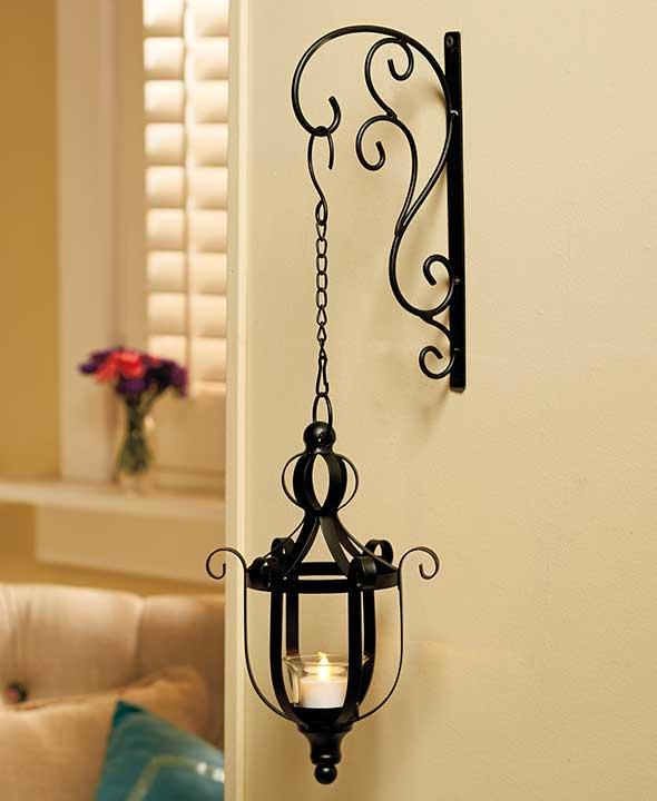 New Antiqued Scrolled Wrought Iron Wall Mount Hanging Candle Lantern Sconces eBay