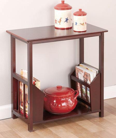 ... -Livingroom-Side-End-Table-w-Double-Magazine-Rack-Walnut-Sage-Black