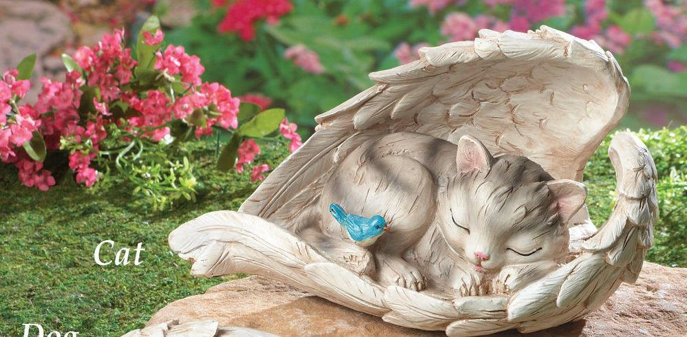 New Pet Memorial Garden Angel Wings Statue Cat Or Dog Grave Marker Tomb Stone