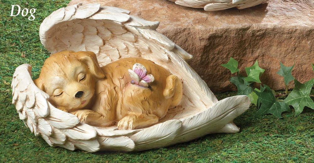 New Pet Memorial Garden Angel Wings Statue Cat Or Dog Grave Marker Tomb Stone Ebay
