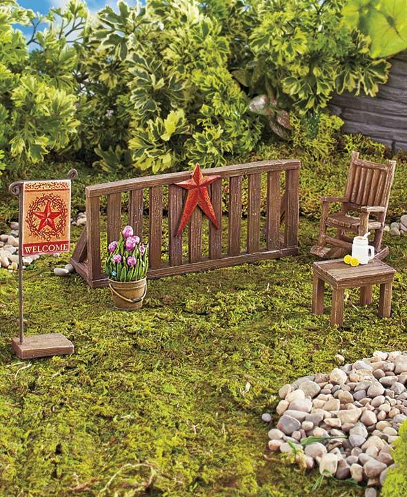 new 8 pc miniature fairy or gnome garden set camping weekend camper picnic table ebay. Black Bedroom Furniture Sets. Home Design Ideas