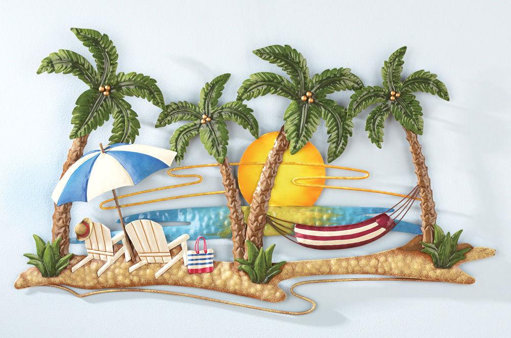 New tropical island beach palm trees hammock sunset for Tropical metal wall art