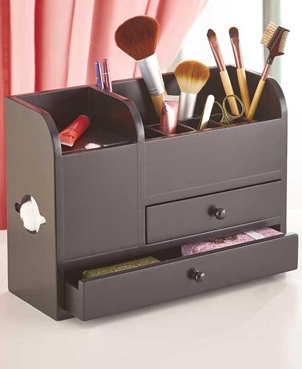 new wood vanity cosmetic makeup beauty storage organizer drawers black or white ebay. Black Bedroom Furniture Sets. Home Design Ideas