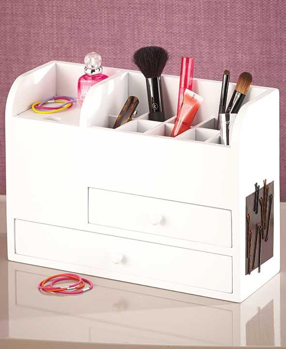 NEW Wood Vanity Cosmetic Makeup Beauty Storage Organizer Drawers Black or White