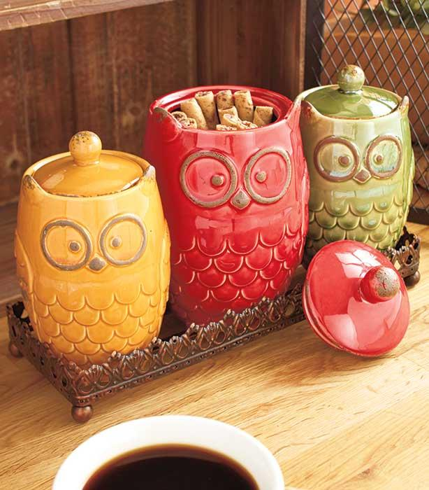 New 8 pc autumn owl countertop collection canisters w Owl kitchen accessories