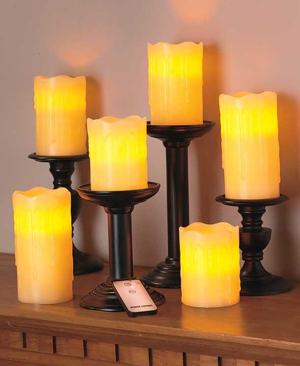 sets of 6 realistic remote control led flameless candles holiday red new ebay. Black Bedroom Furniture Sets. Home Design Ideas