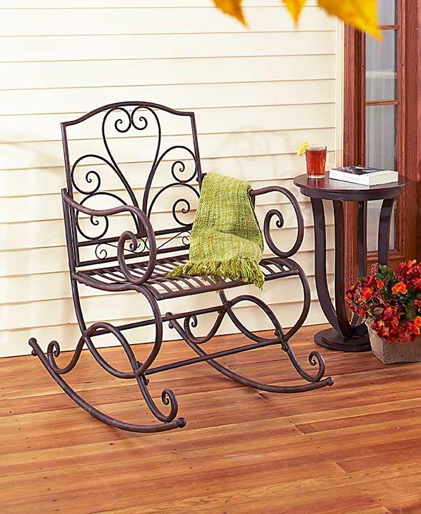 NEW Scrolled Outdoor Metal Porch Rocking Chair Rocker Wide ...
