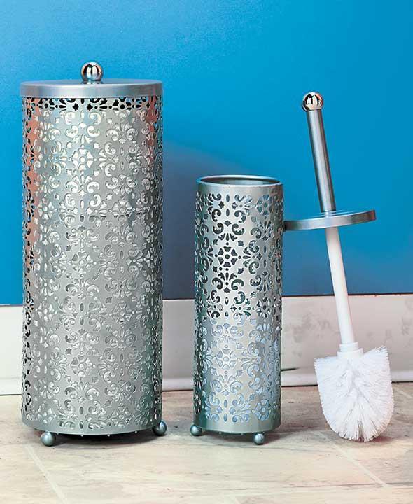 new 2 pc elegant toilet paper brush holder sets chocolate brown or silver ebay. Black Bedroom Furniture Sets. Home Design Ideas