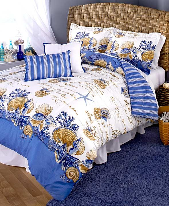 Nautical Bedding King: New 5 Pc Reversible Blue Coastal Beach Nautical Seaside
