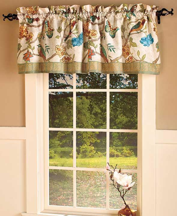 New antique aviary birds bathroom window curtain valance for 18 x 60 window