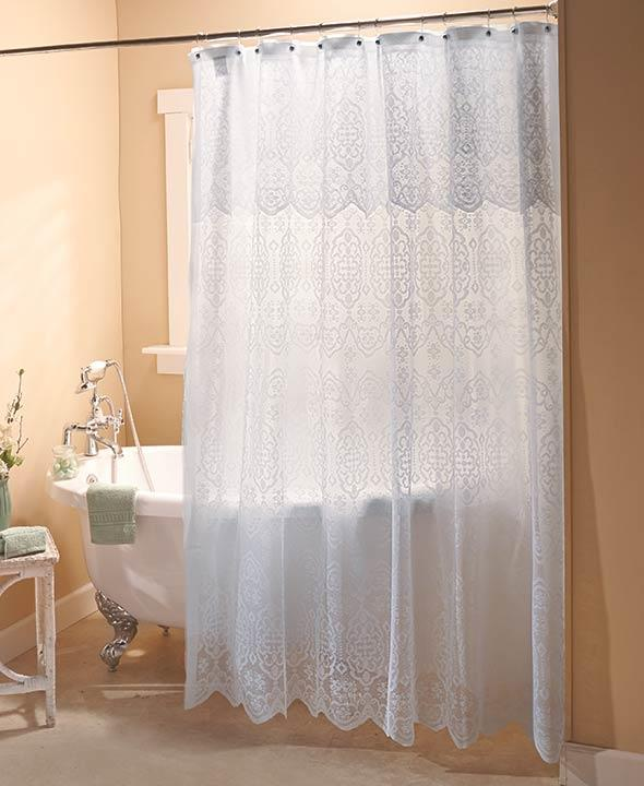 NEW Elegant Lace Shower Curtain With Liner White Or Ivory