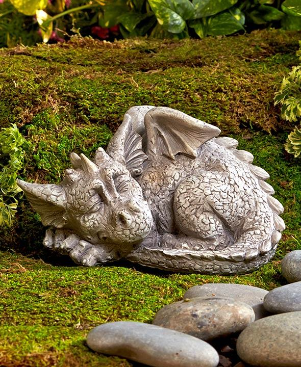 Mythical Sleeping Baby Dragon Pair Or Set Garden